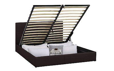 Ultra Modern Upholstered Platform Bed Frame with Under Bed Storage (Brown, Full)