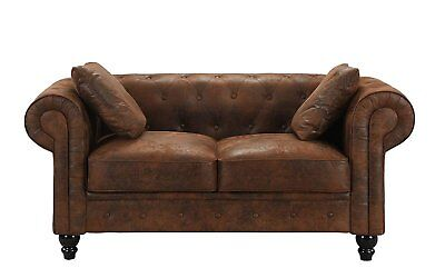 Distressed Rustic Vintage Chesterfield Leather Loveseat Sofa 2 Seat Couch, Brown