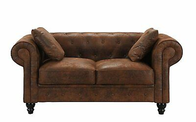 Distressed Rustic Chesterfield Faux Suede Loveseat Sofa 2 Seat Couch, Brown
