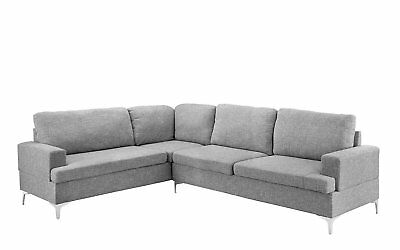 Large Living Room Linen L-Shape Sectional Sofa, Classic Couch (Light Grey)