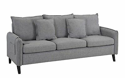 Modern 3 Seat Couch Living Room Linen Fabric Sofa w/ Pillows (Light Grey)