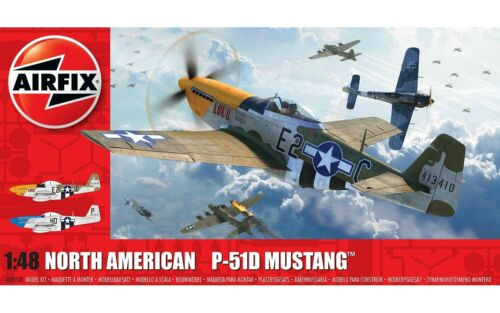 Airfix North American P51-D Mustang Filletless Tails 1:48 Model Airplane A05138