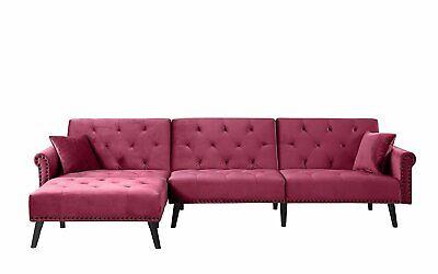 Contemporary Modern Velvet Sleeper Futon Sofa, Mid Century L Shape, Rose Red
