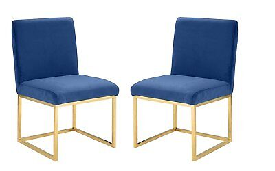 2 Piece Set Velvet Dining Room Side Chairs, Accent Chairs Golden Frame Navy - 2 Piece Dining Room Chair