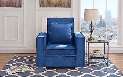 Fellowship Style Chair Living Room Velvet Armchair, High Density  (Navy)