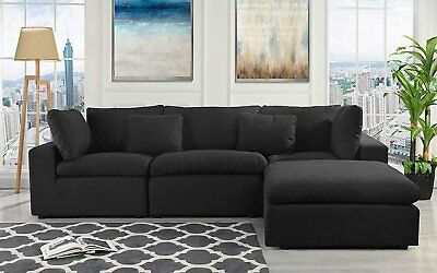 Classic Large Black Fabric Sectional Sofa, L Shape Couch with Wide Chaise...