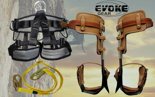 Tree Climbing Spike Set Pole Spurs Climber Adjustable With Pro Harness + Lanyard