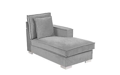 Classic Living Room Velvet Chaise Lounge Contemporary Lounge Chair (Light Grey)