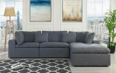 Classic Large Dark Grey Sectional Sofa, L Shape Fabric Couch