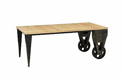 Rustic Wood Plank Metal Cart Coffee Table Accent Table with Casters Light Brown - Light Wood Coffee Table
