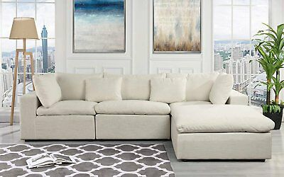 Classic Large Beige Fabric Sectional Sofa, L Shape Couch with Wide Chaise