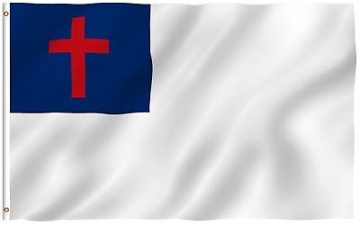 Christian Flag Poly / Nylon 3x5 ft Flag House Banner fade resistant outdoor
