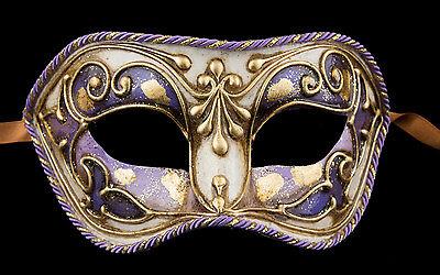 Mask Venice Colombine Purple Golden paper Mache Venetian 1837 V83B