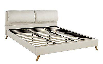 Upholstered Modern Platform Bed Frame Plush Headboard and Slats (Queen, Beige) ()