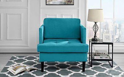 Mid Century Modern Brush Microfiber Armchair, Tufted Seat Accent Chair (Blue) 1 Seat Arm Chair