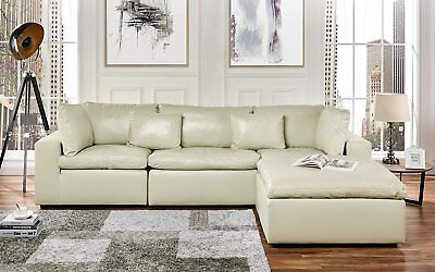 Leather Lounge Sectional Sofa, L Shape Couch with Wide Chaise (Beige) ()