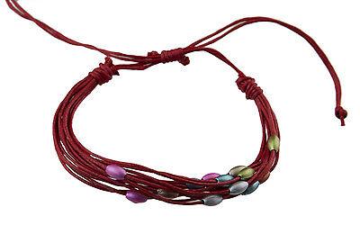 Bracelet multi fils rouge perles pastel tous poignets-Line bresilien Wrap 934 (Tous Armband Perle)
