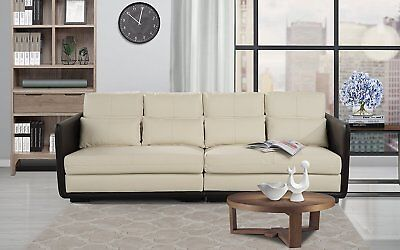 Paragon 2 Piece Convertible Living Room Leather Sofa, Adjustable Couch (Beige)