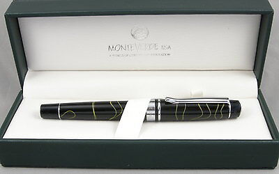 Monteverde Prima Black W Green Swirl   Chrome Fountain Pen   Medium Nib   New