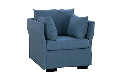 Casual Living Room Linen Fabric Armchair/Accent Chair w/ Pillows (Dark Blue) Casual Living Room Chairs