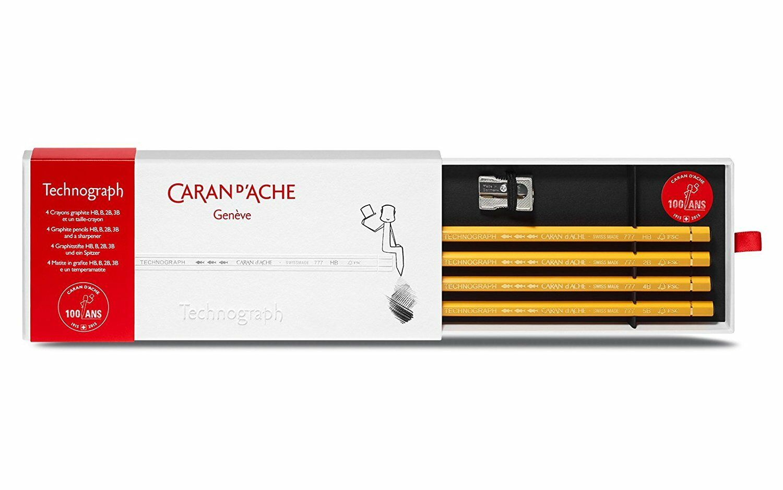 CARAN D'ACHE Technograph Graphite Pencils, 4 Pencils, HB, B, 2B, 3B, New In Box Business & Industrial