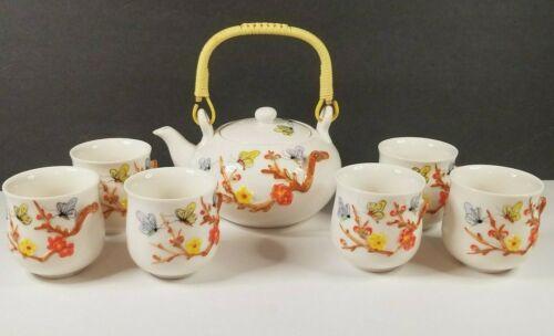 Chinese Tea Set Flowers Butterflies Fujian Dehua Chengyi Ceramics Co LTD 6 Cups