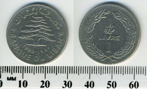 Lebanon 1980 - 1 Livre Nickel Coin - Cedar tree above dates