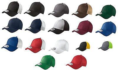 - New Era 39THIRTY Mesh Back Flex Stretch Hat Blank Cap - Black, White, Navy, Red