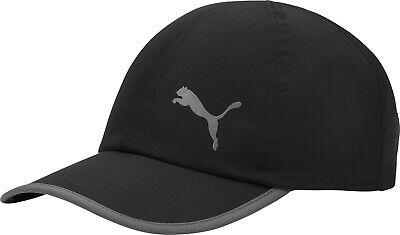 Puma Essential Running Cap Black Built-In Sweatband Curved Peak Gym Training Hat