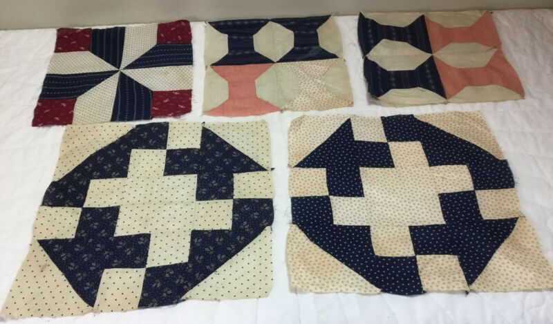 Five Antique Patchwork Quilt Blocks, Early 1900's, Floral Calico, Navy, Burgundy