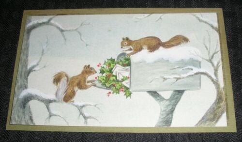 "CHRISTMAS Squirrels Raiding Mail Box in Snow 5.5x3.5"" Greeting Card Art #379"