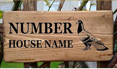Rustic Wooden Pigeon House Gate Sign Plaque Door Number Personalised Name Plate