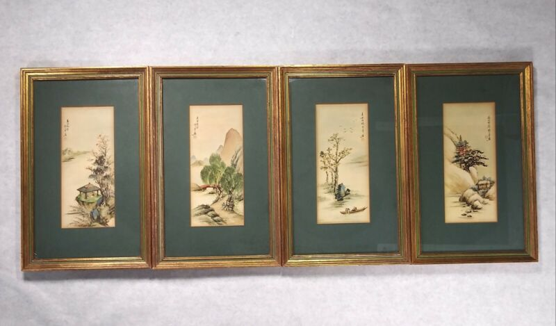 Vintage Asian Chinese Art Signed Ling-Fu Yang Four Seasons Framed Set Of Four 4