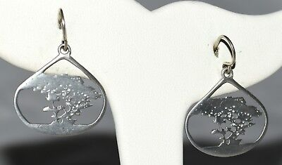 Vintage Signed K Kat Trees in Open Cut Tear Drop Sterling Silver Drop Earrings