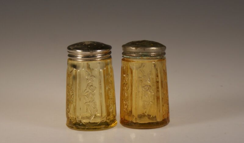 Vintage Depression Era Federal Glass Company Amber Rose of Sharon Salt & Pepper