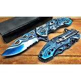 "8"" Pocket Knife Spring Assisted Dragon Ball Fiery Hunting Tactical Folding BLUE"