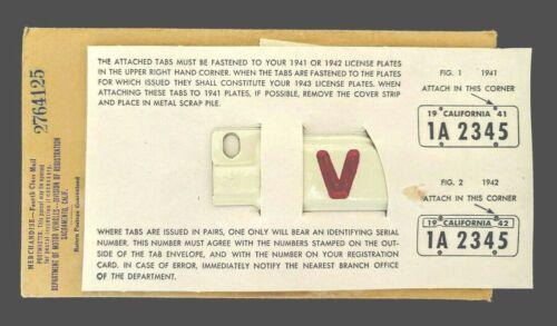 Mint NOS Pair 1943 43 V-Victory California License Plate Year TABS TAGS DMV YOM