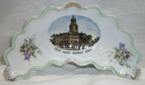 """VINTAGE DISH - COURTHOUSE, DECORAH, IOWA - MADE IN GERMANY FOR """"THE BUTTON"""""""