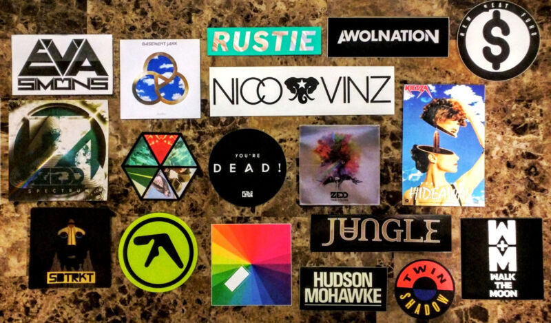 Huge 25+ EDM/Dance/Pop Stickers Lot! APHEX TWIN XX BOARDS OF CANADA ZEDD GUETTA