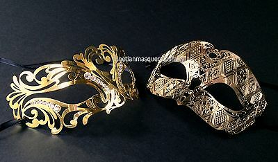 Men and Women pair Masquerade metal crystal eye mask Dress up Christmas New Year