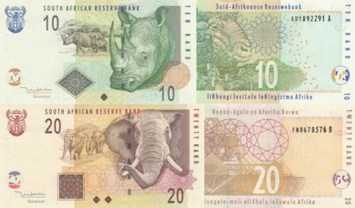 South Africa 2 Note Set: 10 & 20 Rand (ND/2005) - p128a & p129a UNC