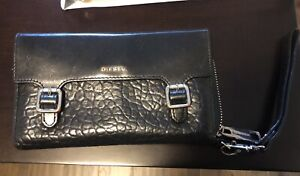 Diesel large zip pebbled leather wallet with wrist strap