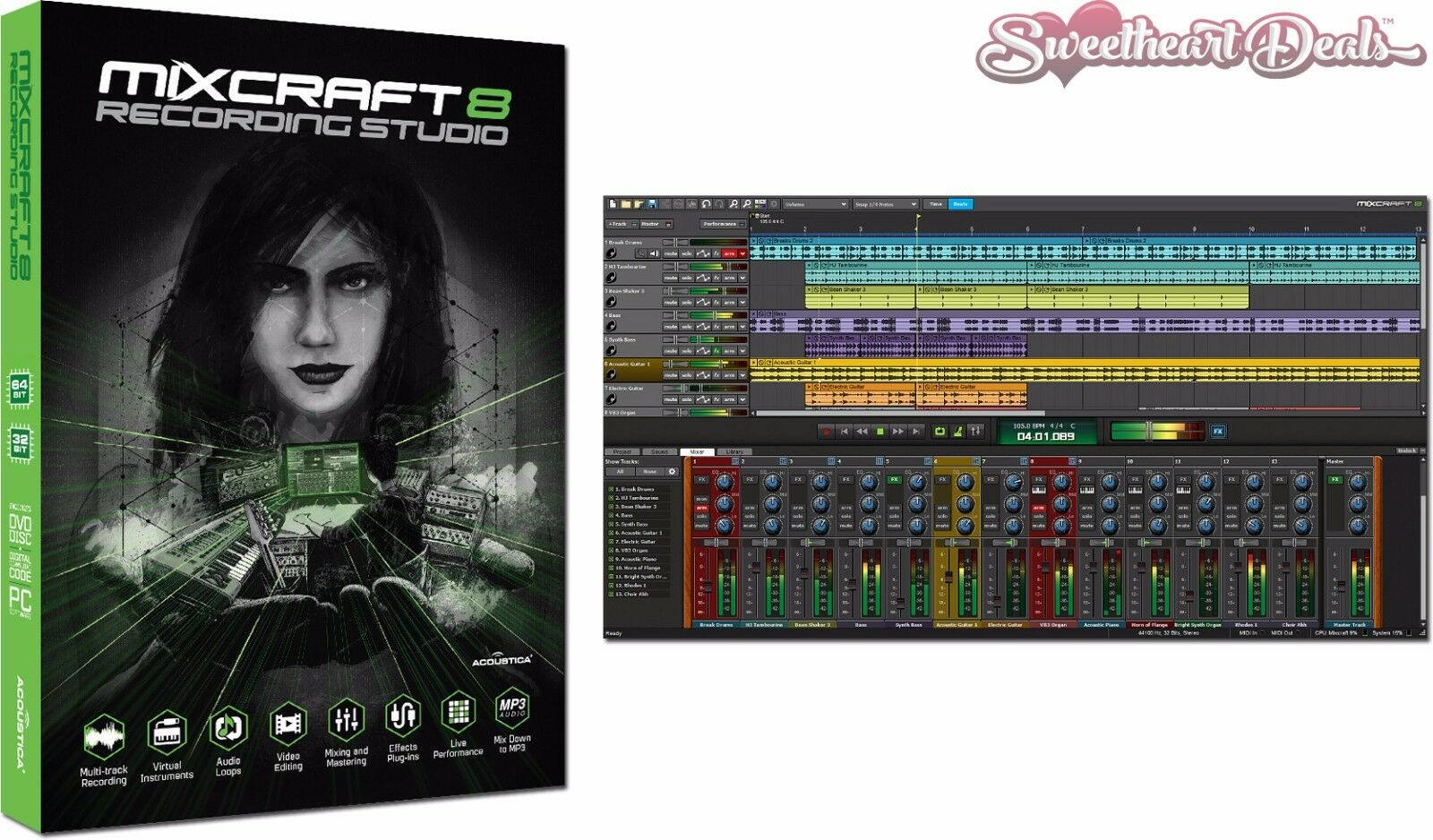 Details about Acoustica Mixcraft 8 Recording Studio Audio Production Music  Software - Download