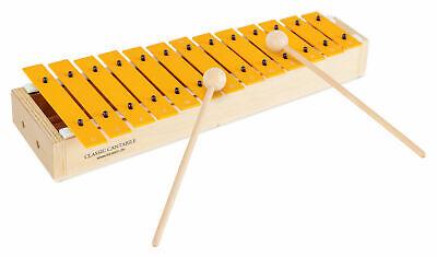 Sopran Glockenspiel diatonisch gelb Kinder C-Dur 2 Schlägel 13 Töne Holz Musik