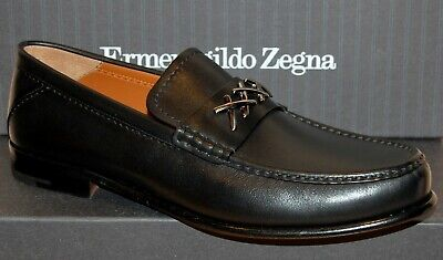 Ermenegildo Zegna XXX Penny Guido Leather Loafers Black Shoes Sz EU 11 US 12