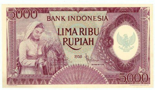 Indonesia  ... P-64 ... 5000 Rupiah ... 1958 ... Choice  *AU-UNC*