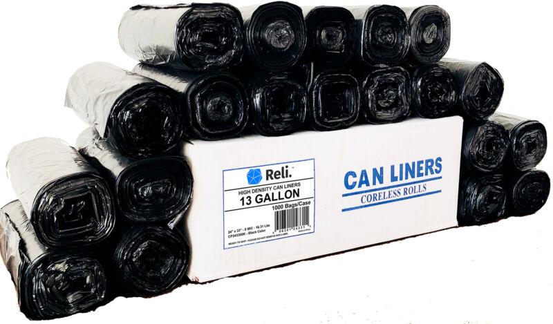 Reli. Trash Bags, 13 Gallon (Wholesale 1000 Count) (Black) - High Density, Tall