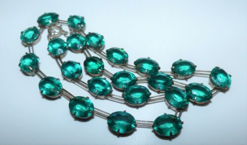 STUNNING ART DECO SILVER & EMERALD PASTE RIVIERE COLLAR NECKLACE EXQUISITE GREEN