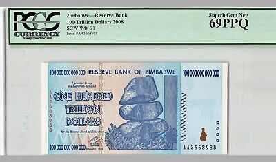 100  DOLLARS   2007 Prefix AA P  69 LOT 2 PCS  Uncirculated ZIMBABWE