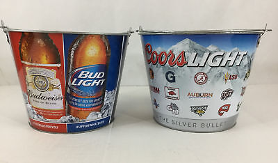 Budweiser Bud Light Coors Beer Buckets Set 2 College Game Day Football Party Fun - Beer Buckets